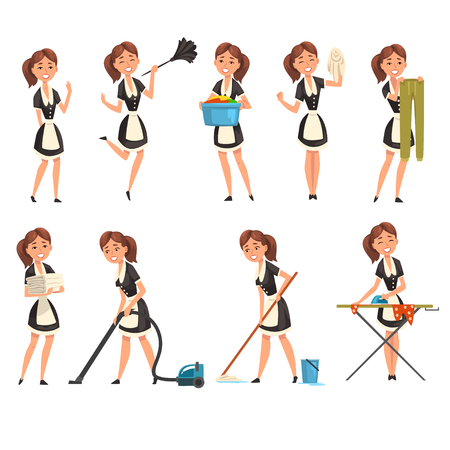 Ilustración de Smilling maid posing in different situations set, housemaid character wearing classic uniform, cleaning service vector Illustration isolated on a white background. - Imagen libre de derechos