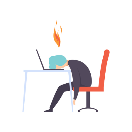 Illustrazione per Overworked exhausted man sitting at his working place with computer in office, businessman with burning brain, emotional burnout concept, stress, headache, depression, psychological problems vector Illustration isolated on a white background. - Immagini Royalty Free