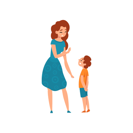Ilustración de Mother talking with her son, mom having a good time with her kid, motherhood, parenting concept vector Illustration isolated on a white background. - Imagen libre de derechos