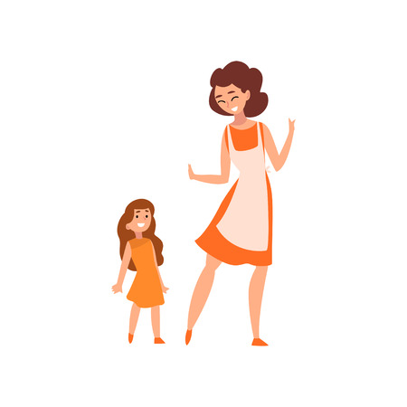 Illustration pour Smiling mother and her little daughter, mother having a good time with her kid, happy family, parenting concept vector Illustration isolated on a white background. - image libre de droit