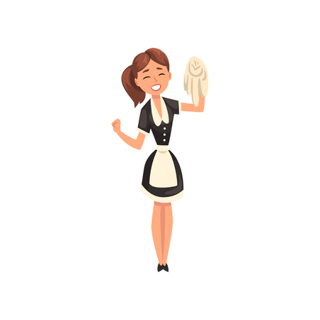 Illustrazione per Smiling maid with rug, housemaid character wearing classic uniform with black dress and white apron, cleaning service vector Illustration isolated on a white background. - Immagini Royalty Free