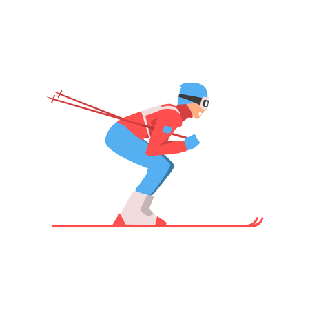 Illustration pour Skiing Sportsman, Male Athlete Character in Sports Uniform and Goggles, Active Sport Healthy Lifestyle Vector Illustration on White Background. - image libre de droit
