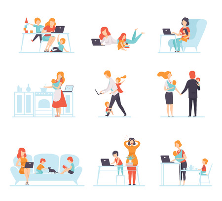Illustration pour Collection of Parents Working with Their Children While Their Playing Next to Them, Mothers and Fathers Working with Children, Businesspeople Vector Illustration Isolated on White Background. - image libre de droit