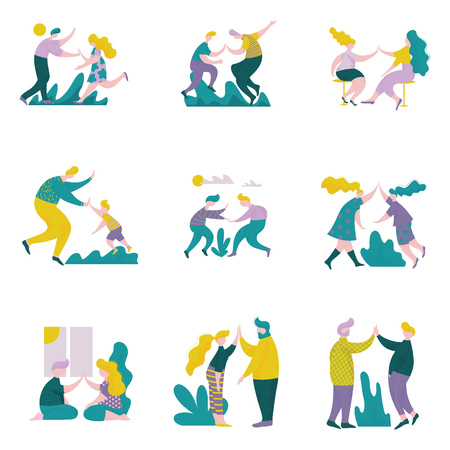 Illustrazione per Young Men and Women Giving High Five to Each Other Set, Male and Female Characters Having Fun, Human Interaction, Friendship, Teamwork, Cooperation Vector Illustration on White Background. - Immagini Royalty Free