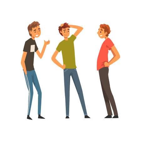 Ilustración de Three Smiling Best Male Friends Talking Together, Male Friendship Vector Illustration Isolated on White Background. - Imagen libre de derechos