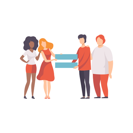 Illustration pour Gender Equality in Society, Equal Rights of People Vector Illustration - image libre de droit