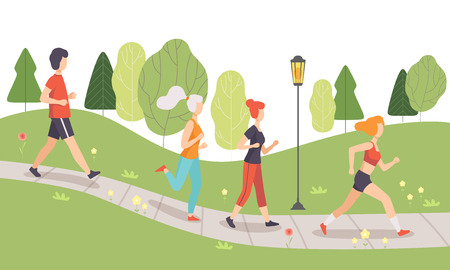 Ilustración de People Running and Jogging in Park, Physical Activities Outdoors, Healthy Lifestyle and Fitness Vector Illustration in Flat Style - Imagen libre de derechos