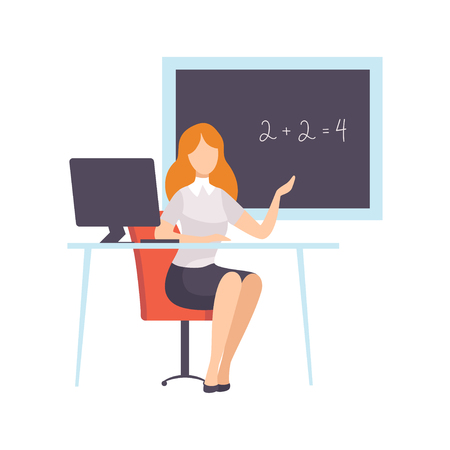 Illustrazione per Woman Teacher Character Sitting in Front of School Blackboard, Teaching Profession Vector Illustration on White Background. - Immagini Royalty Free