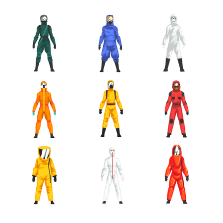Illustrazione per Different Workers in Protective Suits and Helmets Set, Professional Protective Uniform Vector Illustration on White Background. - Immagini Royalty Free