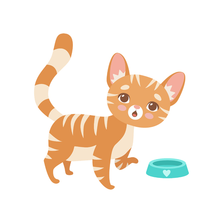Illustrazione per Striped Red Cat Eating, Cute Kitten Animal Pet Character Vector Illustration on White Background. - Immagini Royalty Free