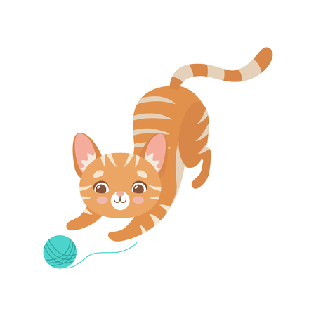 Ilustración de Striped Funny Red Cat Playing with Ball of Yarn, Cute Kitten Animal Pet Character Vector Illustration on White Background. - Imagen libre de derechos