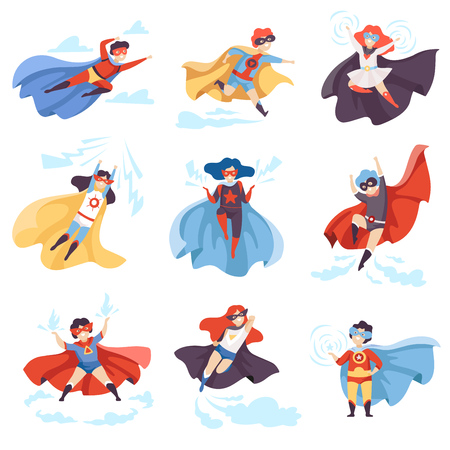 Ilustración de Cute Kids Wearing Superhero Costumes Set, Super Children Characters in Masks and Capes in Different Pose Vector Illustration - Imagen libre de derechos