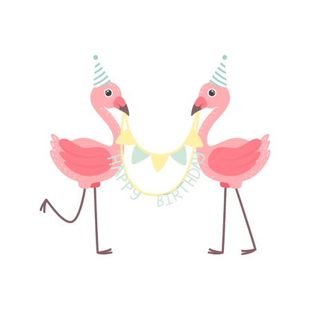 Illustration pour Cute Flamingos Wearing Party Hats Holding Party Flags with Happy Birthday Letters, Beautiful Exotic Bird Character Vector Illustration on White Background. - image libre de droit