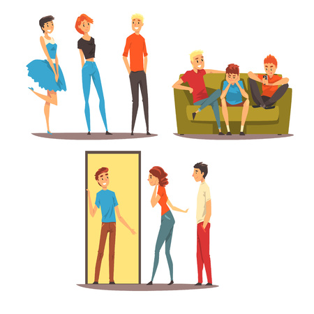 Illustrazione per Male friends spending time together, guys playing football, sitting in a cafe, talking, best friends concept vector Illustration isolated on a white background. - Immagini Royalty Free