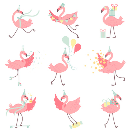 Illustration pour Cute Pink Flamingos in Party Hats Set, Beautiful Exotic Birds Characters With Gift Boxes and Colorful Balloons, Happy Birthday Vector Illustration on White Background. - image libre de droit