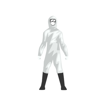 Illustrazione per Man in White Protective Suit, Professional Safety Uniform Vector Illustration on White Background. - Immagini Royalty Free