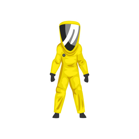Illustrazione per Man in Yellow Radiation Protective Suit and Helmet, Chemical or Biohazard Professional Safety Uniform Vector Illustration on White Background. - Immagini Royalty Free