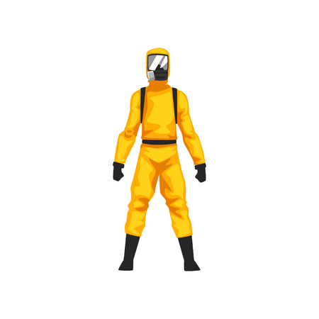 Illustrazione per Man in Protective Suit and Gas Mask, Chemical or Biohazard Professional Safety Uniform Vector Illustration on White Background. - Immagini Royalty Free