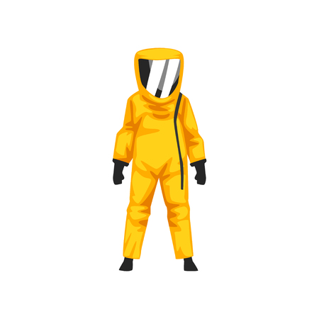 Illustrazione per Man in Radiation Protective Suit and Helmet, Professional Safety Uniform Vector Illustration on White Background. - Immagini Royalty Free