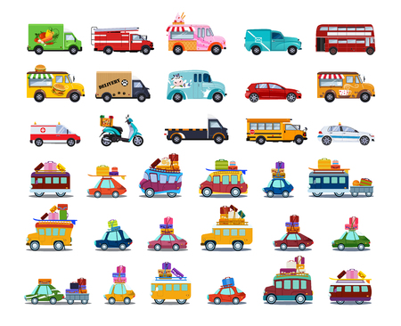 Ilustración de Cute City Transport Set, Colorful Childish Cars and Vehicles Vector Illustration on White Background. - Imagen libre de derechos