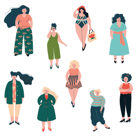 Illustrazione per Beautiful Plus Size Curved Women Set, Plump Girls Dressed in Stylish Clothing Vector Illustration - Immagini Royalty Free