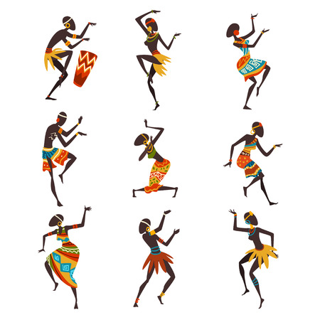 Illustration pour African People Dancing Folk or Ritual Dance Set, Aboriginal Dancers in Bright Traditional Ethnic Clothing Vector Illustration on White Background. - image libre de droit