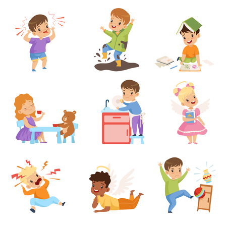 Illustrazione per Naughty and Obedient Kids Set, Children with Good Manners and Hooligans Vector Illustration on White Background. - Immagini Royalty Free