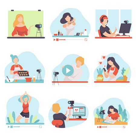 Ilustración de Blogging and Vlogging Set, People Bloggers Demonstrating their Skills Through Internet Vector Illustration on White Background. - Imagen libre de derechos