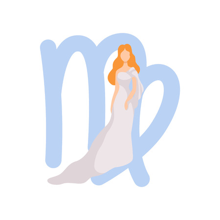 Illustration for Virgo Zodiac Sign, Young Beautiful Woman Wearing Clothes in Style of Ancient Greece Vector Illustration - Royalty Free Image