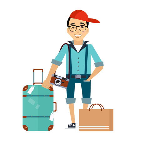 Illustration pour Man with the Luggage traveler Colourful Vector Illustration flat style - image libre de droit