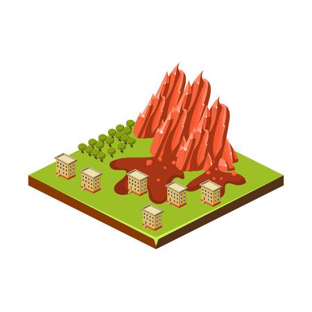 Ilustración de Mudslide. Natural Disaster Icon. Vector Illustration - Imagen libre de derechos