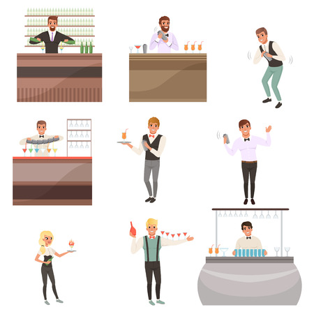 Illustration pour Young bartenders standing at the bar counter surrounded with bottles and glasses. Barmen mixing, pouring and serving alcohol drinks. People characters set working in cafe or bar. Flat cartoon vector - image libre de droit