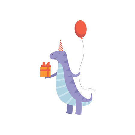 Illustration pour Cute Dinosaur in Party Hat with Gift Box and Balloon, Funny Blue Dino Character, Happy Birthday Party Design Element Vector Illustration - image libre de droit