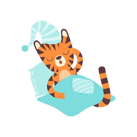 Illustration pour Cute Little Tiger Wearing Cap Sleeping in Bed, Adorable Wild Animal Cartoon Character Vector Illustration - image libre de droit