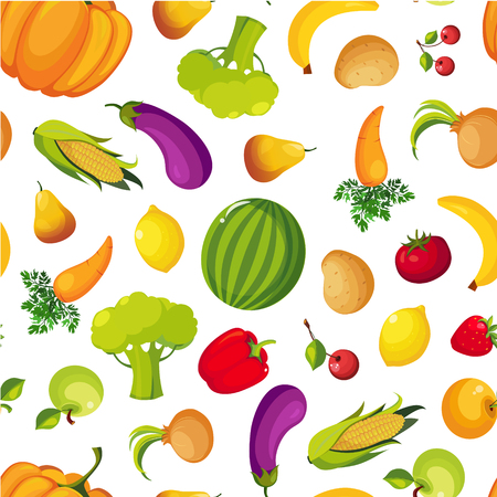 Illustration for Colorful Farm Fresh Fruit and Vegetables Seamless Pattern, Healthy Food Vector Illustration - Royalty Free Image