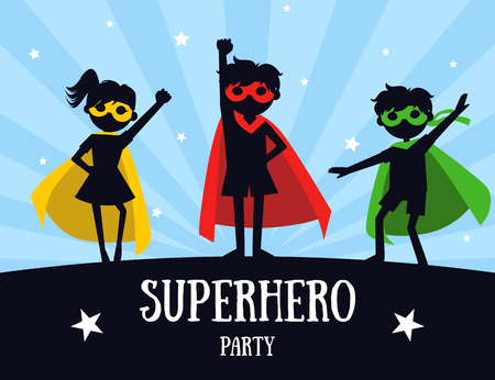 Ilustración de Superhero Party Banner, Cute Kids in Superhero Costumes and Masks, Birthday Invitation, Landing Page Template Vector Illustration - Imagen libre de derechos