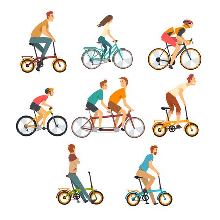 Ilustración de People Riding Bicycles Set, Men and Women on Bikes of Various Types Vector Illustration on White Background. - Imagen libre de derechos
