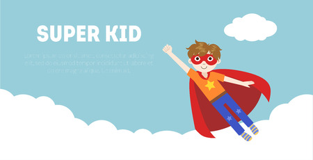 Illustration for Super Kid Banner, Cute Boy in Superhero Costume and Mask Flying in Sky Vector Illustration, Web Design - Royalty Free Image