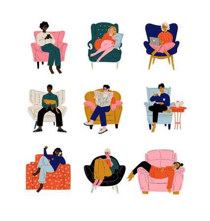Illustration pour People Sitting at Home in Comfortable Armchair Set, Men and Women Resting, Drinking Tea or Coffee, Working on Laptop, Reading, Talking on Phone Vector Illustration on White Background. - image libre de droit