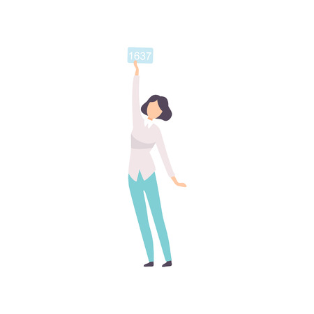 Illustration for Young Woman Bidding in Public Auction House, Girl Raising Paddle with Number to Buy Piece of Art Vector Illustration on White Background. - Royalty Free Image