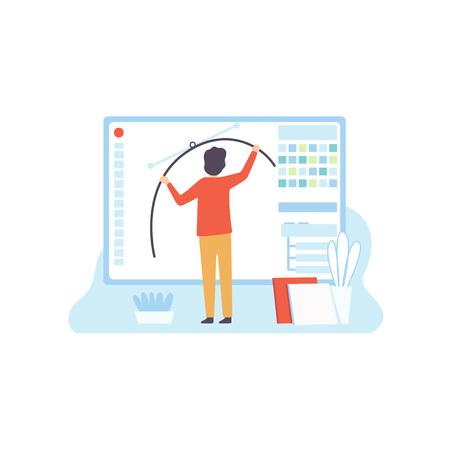Ilustración de Web Design, Digital Content Creating, Technology Process of Software Development, Social Media Marketing Vector Illustration on White Background. - Imagen libre de derechos