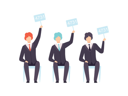 Illustrazione per Businessmen Bidding in Public Auction House, Bidders Raising Auction Paddles to Buy Piece of Art Vector Illustration - Immagini Royalty Free