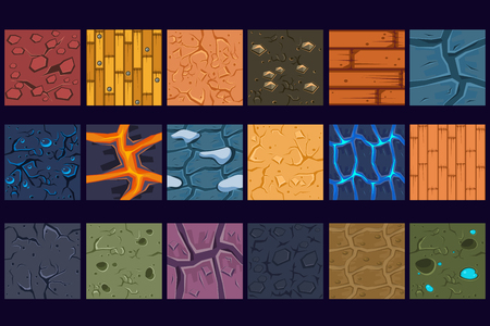Illustration pour Ground concrete stone texture patterns set vector Illustrations, web design - image libre de droit