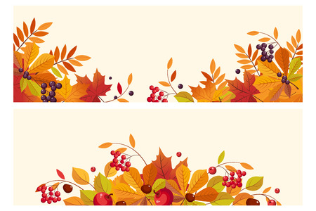Ilustración de Thanksgiving background with space for text, horizontal banners with autumn leaves and berries vector Illustration, web design - Imagen libre de derechos