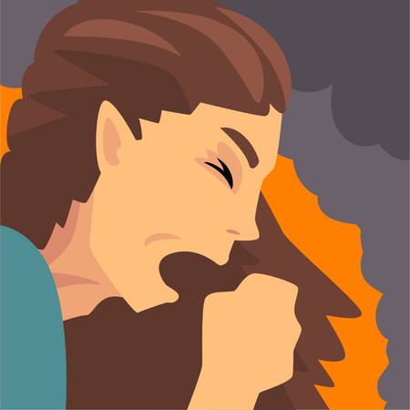 Illustration pour Woman Coughing Because Suffering from Fine Dust, Industrial Smog, Industry Air Pollution, Vector Illustration - image libre de droit