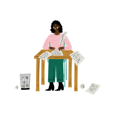 Ilustración de African American Female Writer or Poetess Character Sitting at Desk and Writing with Feather Pen Vector Illustration on White Background. - Imagen libre de derechos