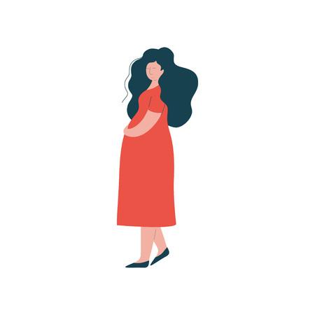 Ilustración de Attractive Brunette Pregnant Woman in Red Dress, Happy Pregnancy, Maternal Health Care Vector Illustration on White Background. - Imagen libre de derechos