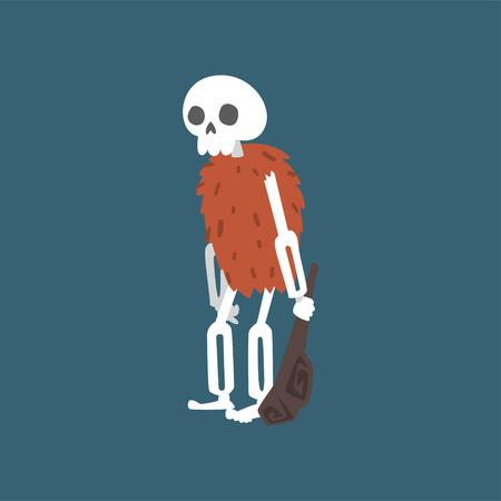 Illustration pour Prehistoric Human Skeleton with Truncheon, Zombie Dead Man Cartoon Character Vector Illustration on Dark Background. - image libre de droit