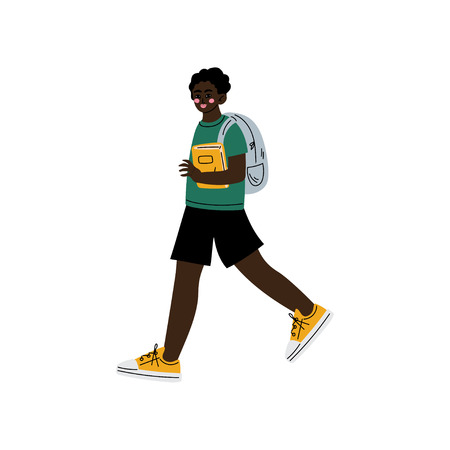 Illustration for African American Boy Walking to School, Teenager Going to School with Backpack and Books Vector Illustration on White Background. - Royalty Free Image