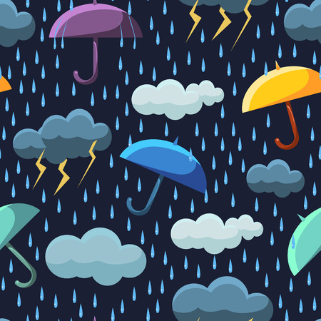 Illustration pour Cute Rainy Clouds and Umbrellas on Dark Blue Sky Seamless Pattern, Winter Design Element Can Be Used for Fabric, Wallpaper, Packaging Vector Illustration on White Background. - image libre de droit